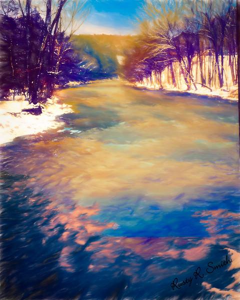 A cold snowy river landscape.