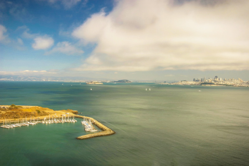 A wide view of San Francisco Bay looking toward the city and Alcatraz.