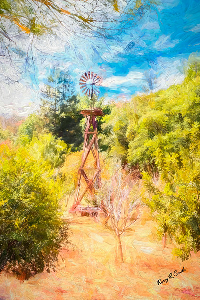 An old wooden windmill.