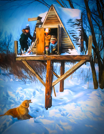 winter scene three kids and dog playing in a treehouse