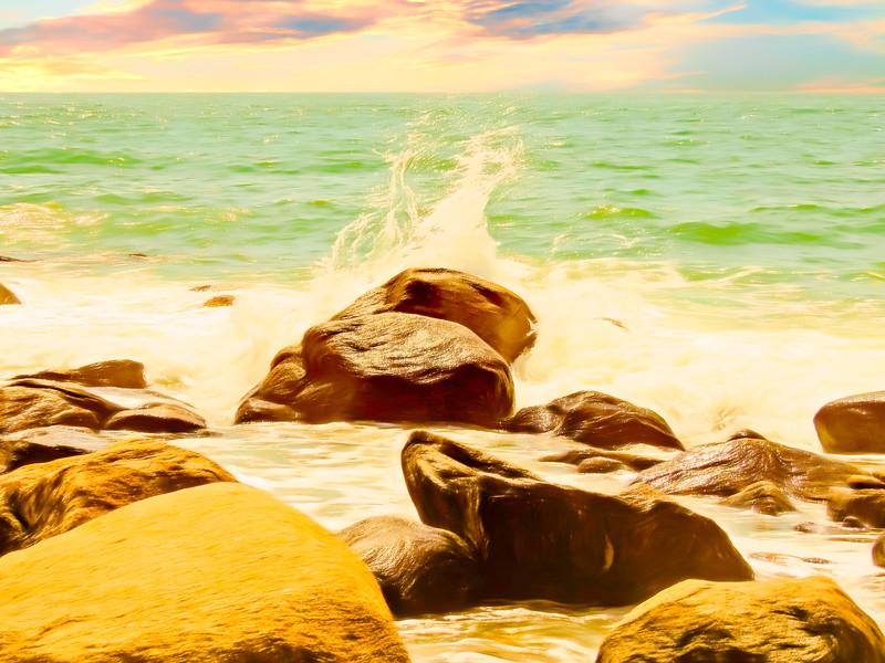 Small ocean waves,large rocks.