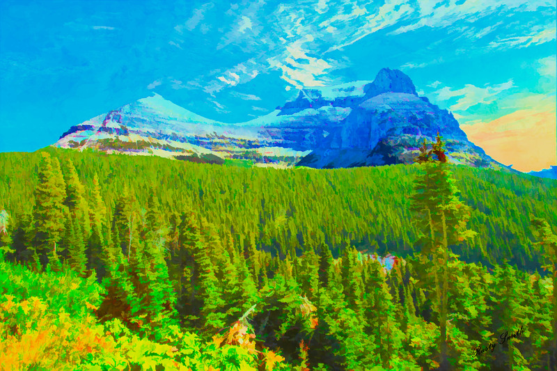Art photograph of a mountain view from the going to the sun road.East Glacier Nat. Park
