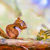 Art composite photograph of a chipmunk and red squirrel sharing a log.