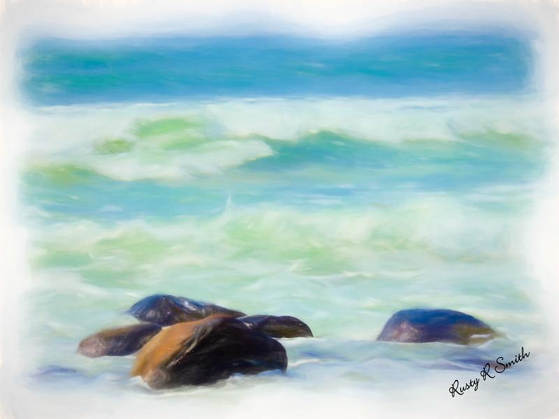 Soft ocean waves.
