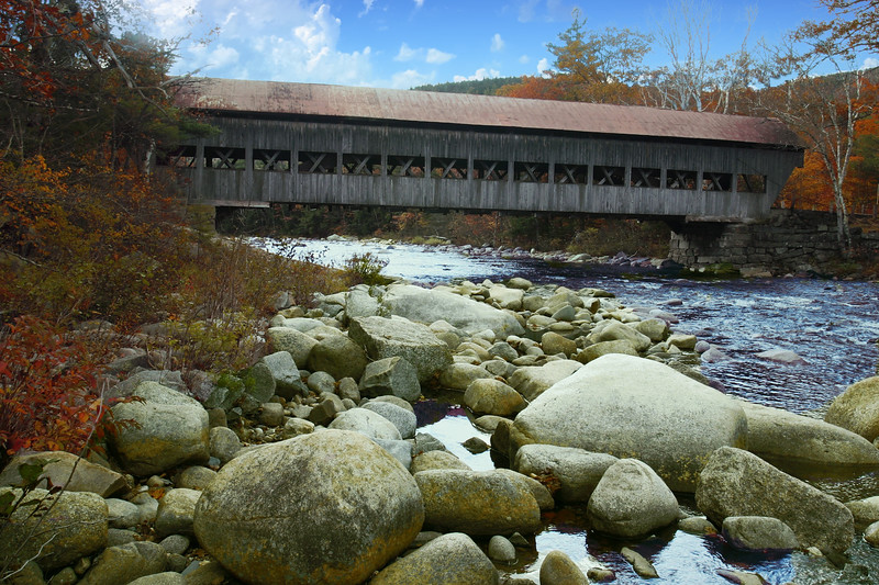The Albany covered bridge over the Saco River New Hampshire
