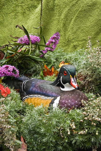A vertical stock photograph of a male wood duck sculpture in a colorful still life setting.