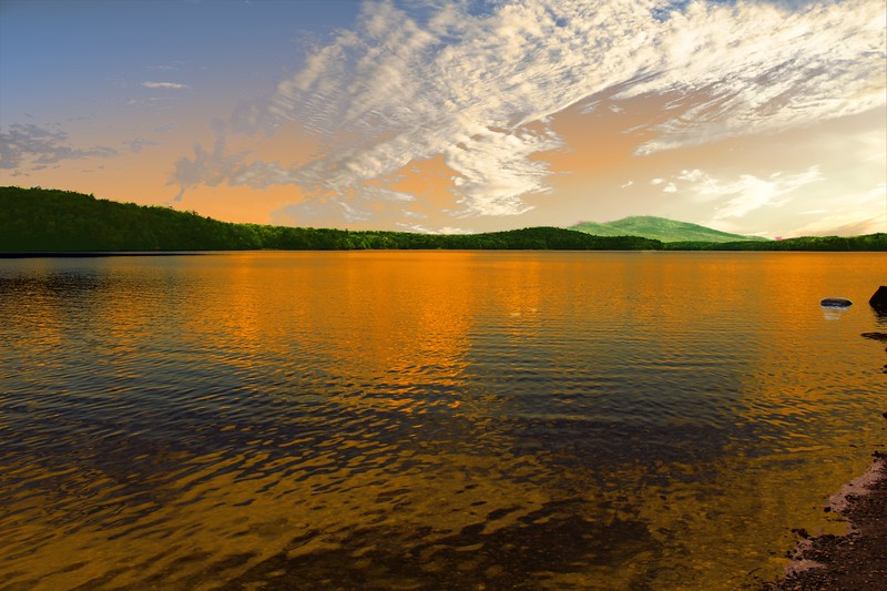 A horizontal stock photograph,an artist view of Somerset Reservoir in Southern Vermont.
