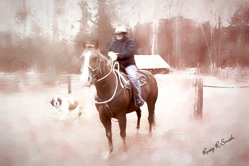 A woman sitting on a horse with St. Bernard dog looking on.