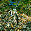 A vertical stock photograph of a childs bicycle in pile of fall leaves.