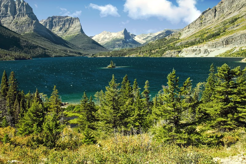 A horozontal stock photograph of Wild Goose Island,St. Marys Lake in east glacier National park. Montana