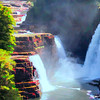 Three waterfalls Ausable Chasm. Grand Canyon of the Adirondacks