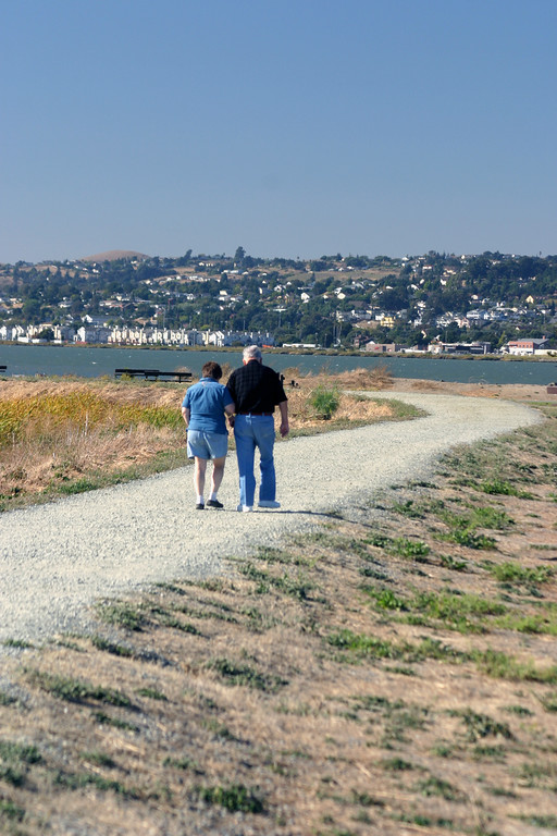 Vertical stock photo of an Elderly father and Daughter walking near the waterfront at Martinez California.
