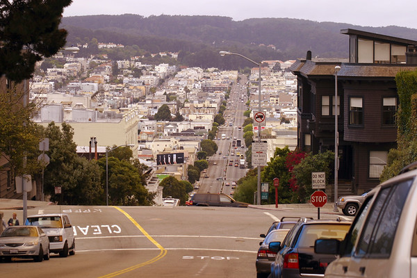 A horizontal stock photograph showing a view from top of Lombard Street San Francisco California.