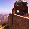 A vertical stock photograph of the viewing tower on the summit of Mt. Diablo near Walnut Creek California.