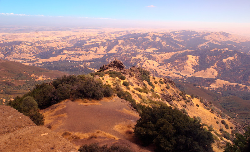 A horizontal stock photograph of a wide scenic view from Summit of Mt. Diablo Walnut Creek California.