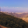 A horizontal stock photograph of a scenic view from Mt.Diablo California showing radio tower in foreground