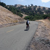 A vertical stock photograph of a man Bike Riding Up Mt. Diablo Near Walnut Creek California.