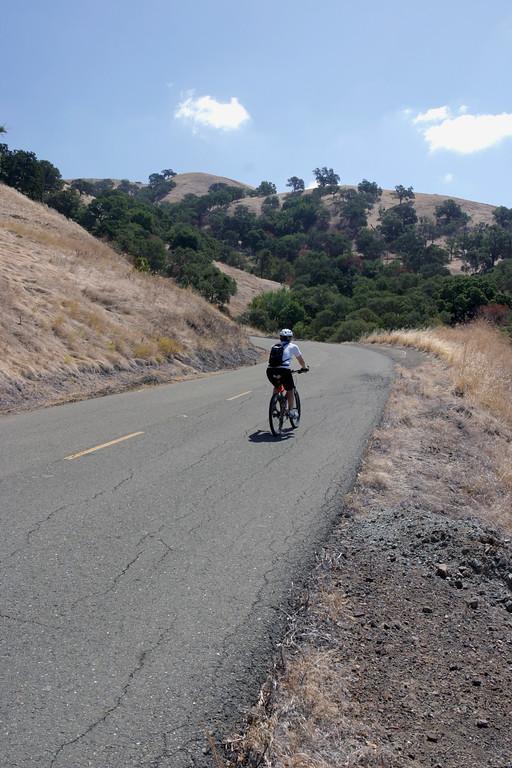 A vertical stock photograph of a man Bike Riding Up Mt. Diablo Near Walnut Creek California.