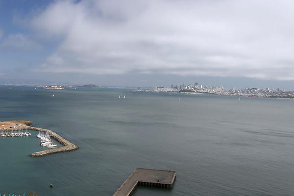 A horizontal stock photo Looking across San Francisco Bay, showing San Francisco skyline and Alcatraz in the background.The view From Golden Gate bridge overlook.