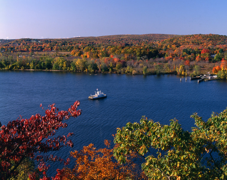 A horizontal Stock Photograph of the Hadlyme ferry crossing the Connecticut River.View from Gillette Castle State Park.