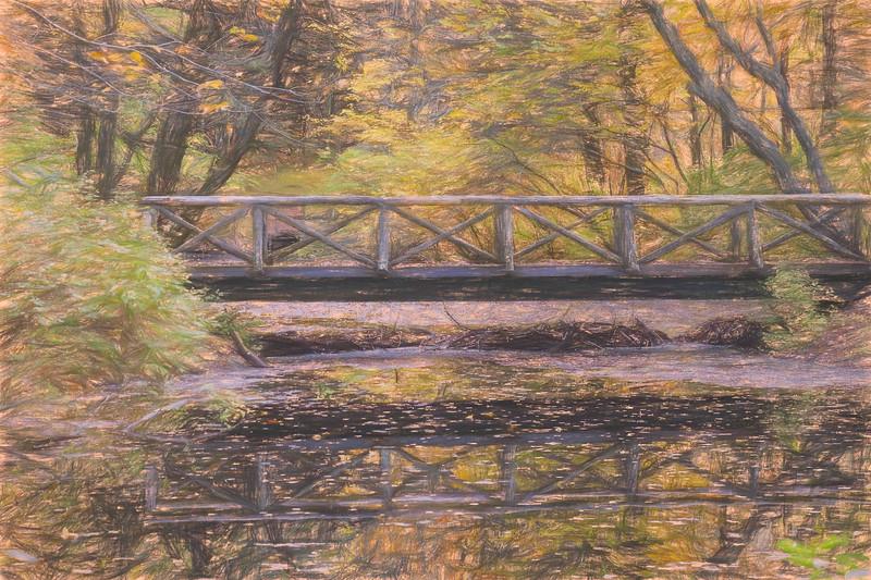 A walking bridge reflection on peaceful flowing water.
