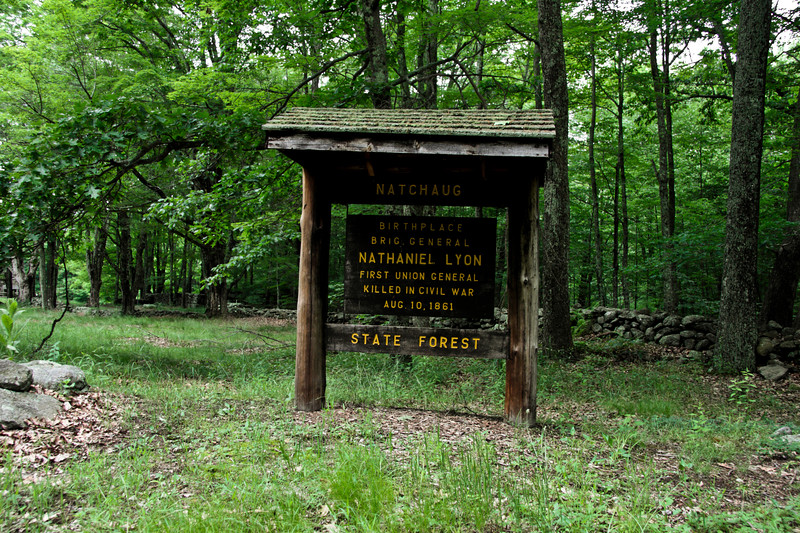 A sign noting the birthplace of Nathaniel Lyon first union general killed in the civil war Aug. 10, 1861.