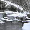A horizontal stock photograph of the Natchaug River in winter. Located in Eastern Connecticut.