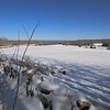 A horizontal Stock Photograph of a wide scenic winter view of fields and stone walls off Rt. 169 in Canterbury Connecticut