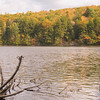 A horizontal stock photograph of Mashapaug Lake in Eastern Connecticut. A beautiful autumn afternoon in Connecticut.