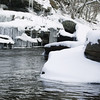 Avertical stock photograph of the Natchaug River in winter. Located in Eastern Connecticut.