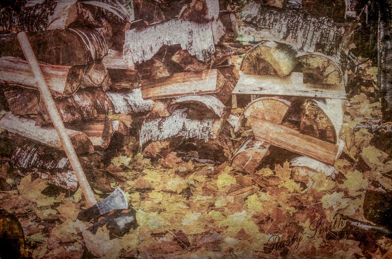 Autumn chore firewood splitting.