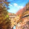 Sentinel Pine Bridge over Flume Gorge Franiconia New Hampshire.