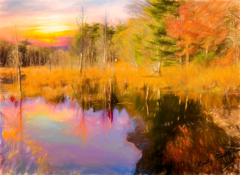 Beaver pond in autumn.