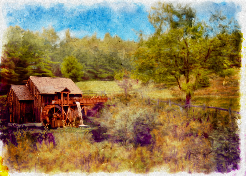 A digital art photograph of an overshot Grist Mill with flowing