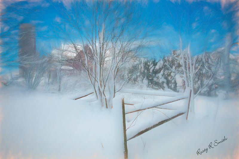 Snowy country scene