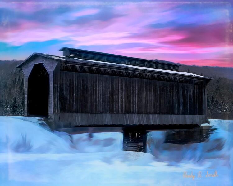 Fisher raiilroad Covered Bridge Wolcott Vermont.