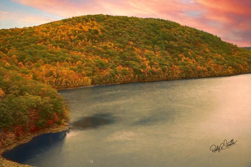 Art painting effect of Colebrook Reservoir,Connecticut.