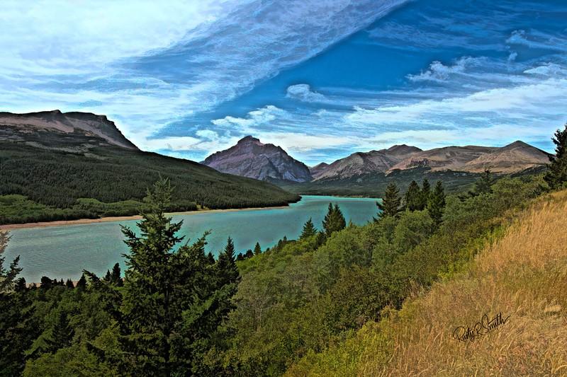 A landscape art photograph of Lake Sherburne,Glacier Nat. Park.Many Glaciers area.