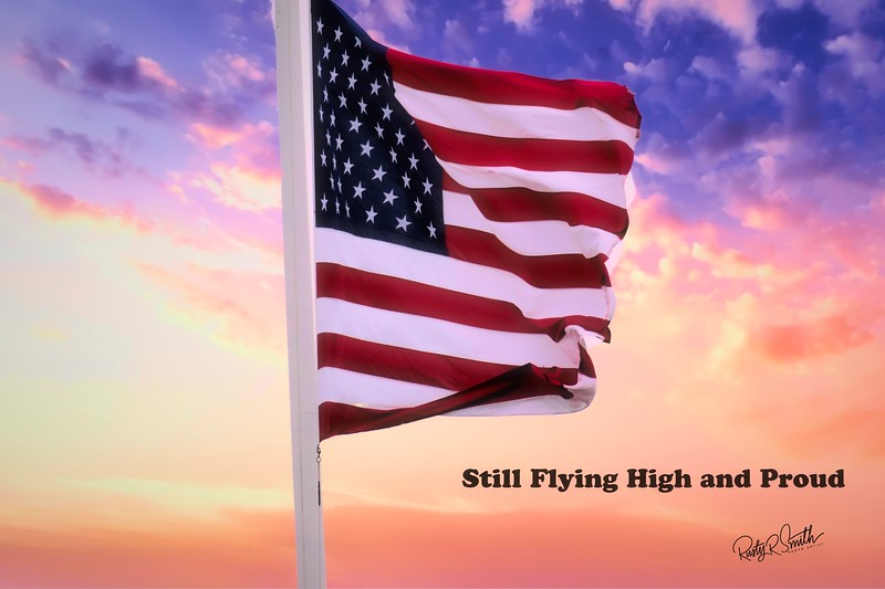 American Flag flying tall and proud in trying times.
