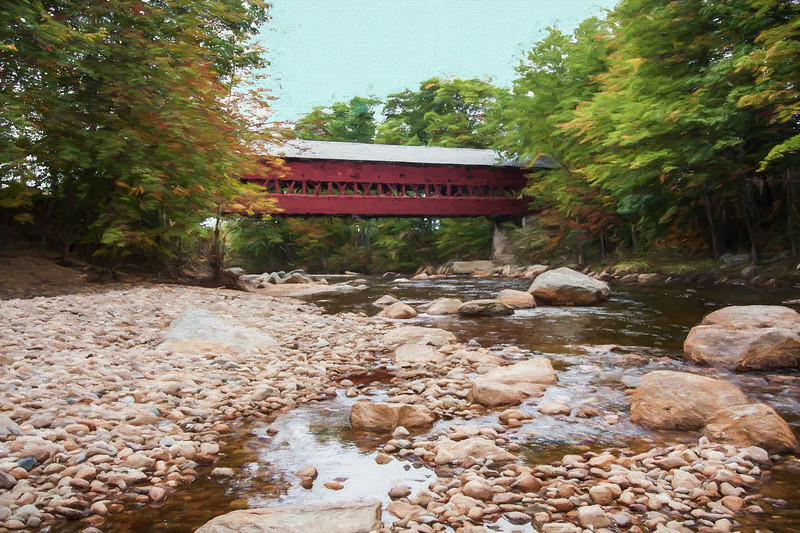 A scenic view of the Swift river covered bridge. North Conway New Hampshire.