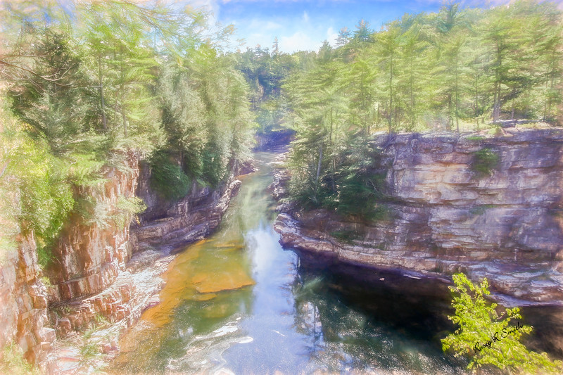 A scenic art photograph at Ausable Chasm. Adirondack Park.