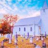Country white church and old cemetery.