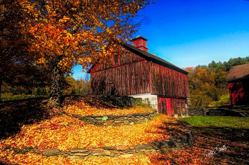 A farm in southern Vermont. emphasizing the beautiful barn.