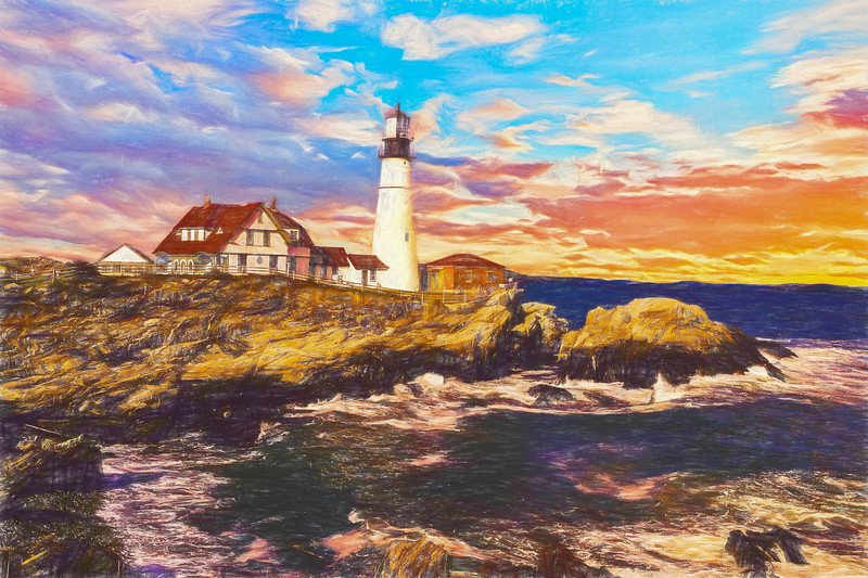 A Digital Art photograph of the Portland Head Light.