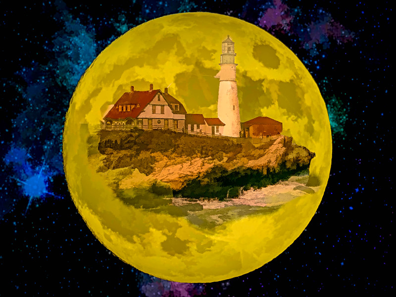 Portland Head Light against the Super Moon