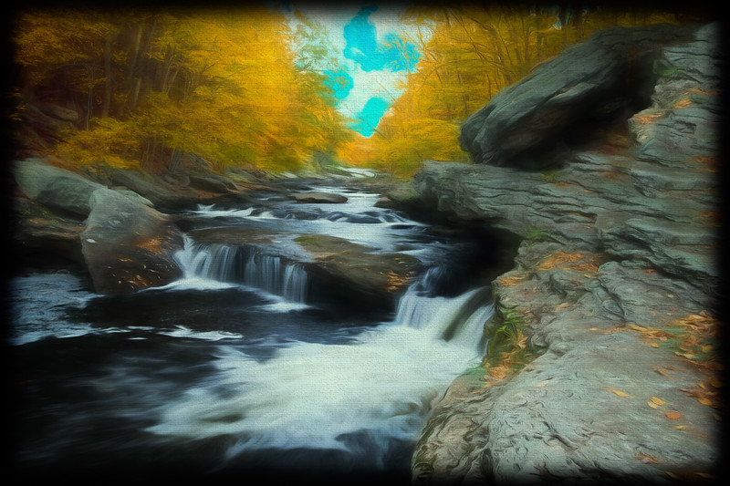Soft art photograph of the Natchaug River.  Eastern Connecticut.