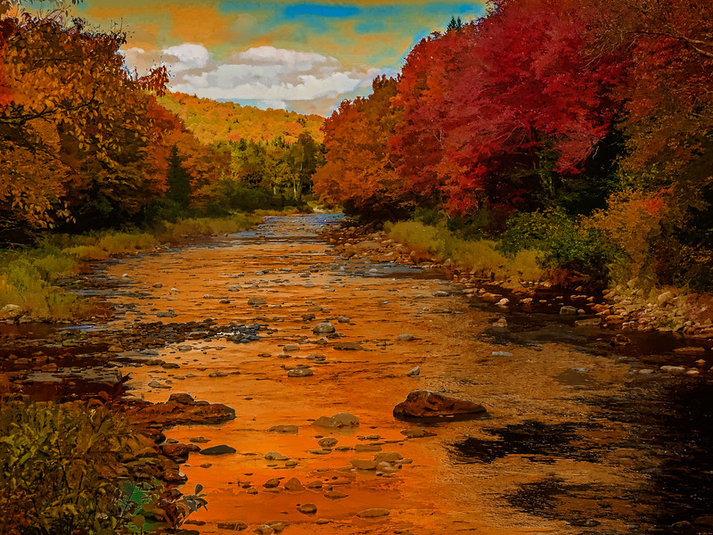 Peaceful River,Fall colors.