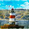 An Art photograph of the Borden flats lighthouse at Battleship Cove, Naval & Maritime Museum.