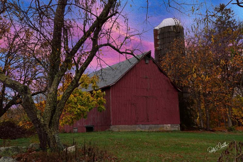 Autumn farm scene.