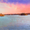 Soft art photograph of pink sky over a large New England Lake.